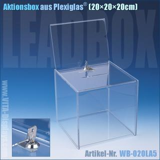 Aktionsbox (20x20x20cm) mit Schloss + A5 TOP-Schild