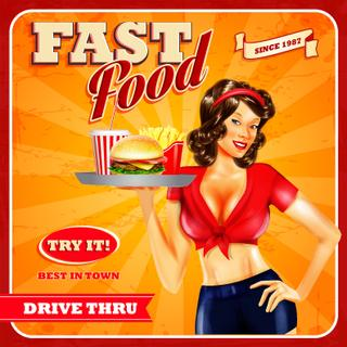 "Vintage ""Pin-Up"" - Fast Food Magnet aus echtem PLEXIGLAS®"