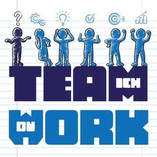"Whiteboard-Magnet ""Ich Team Du Work"" – Teamwork Magneten für alle"